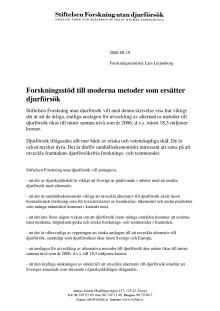 Till forskningsminister Leijonborg om moderna metoder utan djurförsök
