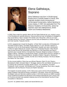 BIO of Elena Galitskaya, Soprano, Servilia in La Clemenza di Tito, Drottningholms Slottsteater 2013