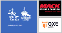 OXE Diesel displayed at Fish Canada Workboat Canada by Mack Boring 24 to 25 of January