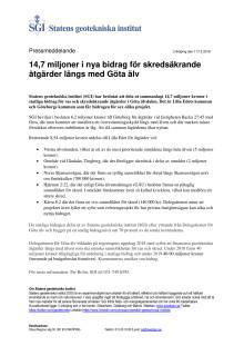 14,7 miljoner i nya bidrag för skredsäkrande Pressmeddelande från SGI