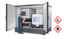 Nya SolidMaxx IBC- och fatskåp med integrerat uppsamlingskärl