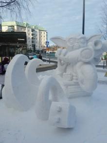 Lag Apelsin är vinnaren av Umeåmästerskap i snöskulptur 2017