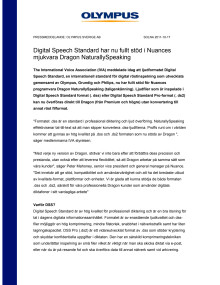 Digital Speech Standard har nu fullt stöd i Nuances mjukvara Dragon NaturallySpeaking