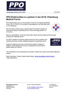 PPO-Elektroniikka is a partner in the XII St. Petersburg Medical Forum