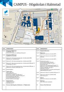 Campuskarta Högskolan i Halmstad 2014.