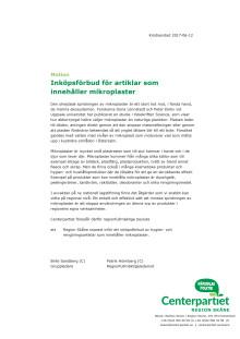 Motion - Inköpsförbud för artiklar som innehåller mikropaster