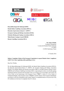 Letter of complaint: Failure of the European Commission to request Member States' compliance with EU law when regulating online gambling services