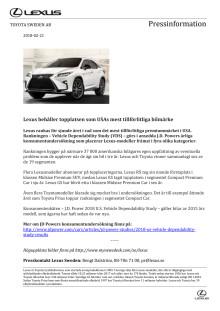 Lexus behåller topplatsen som USAs mest tillförlitliga bilmärke