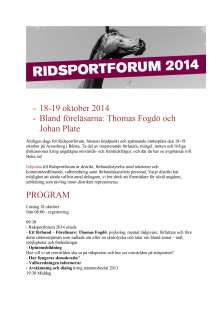 Ridsportforum 2014