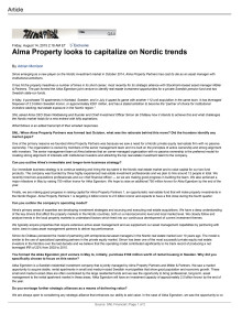 SNL: Alma Property looks to capitalize on Nordic trends