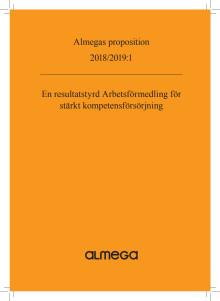 Almegas proposition om Arbetsförmedlingen