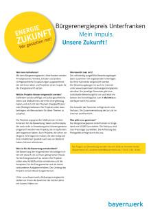 Bürgerenergiepreis Unterfranken - Beschreibung