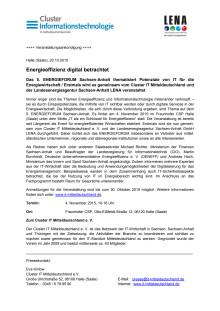 Pressemitteilung des Clusters Informationstechnologie