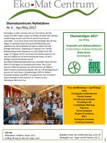 Ekomatcentrum Nyhetsbrev Nr 4, april-maj 2017