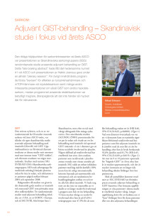 Överläkare Mikael Eriksson –  magtarmtumören GIST, skandinavisk studie i fokus under ASCO