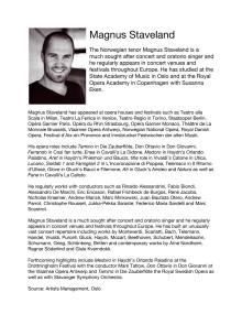 Singer Biography: Magnus Staveland, tenor (in English)