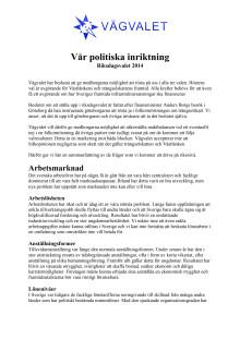 Vår politiska inriktning - Riksdagsvalet 2014