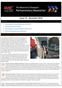 RAC Parliamentary Newsletter #15 - December 2016