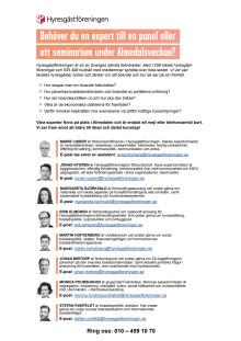 Hyresgästföreningens experter i Almedalen 2019