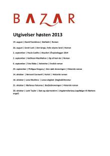 Bazar Forlag høsten 2013: Utgivelser og forfatterbesøk