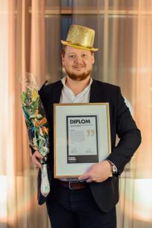 Han är årets vinnare av Magnus Eriksson Stipendium!