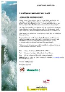 Inbjudan till Klimatsalong 10 mars 2009 om klimatneutralitet