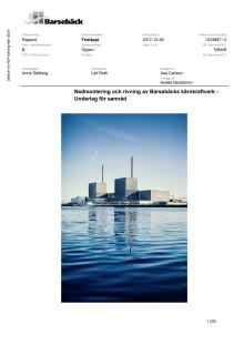 Nedmontering och rivning av Barsebäcksverket - Samrådsunderlag