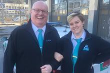 Linnea och Mikael är Arrivas representanter i Spårvagns-EM på Teneriffa