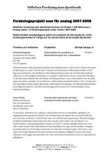 Aktuella forskningsprojekt 2007-2008