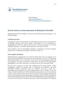 Svar på remiss av Länstransportplan för Blekinge län 2018-2029