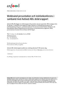 Webbsänd presentation och telefonkonferens i  samband med Axfood ABs delårsrapport