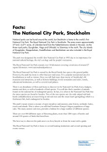 Facts: About the Royal National City Park