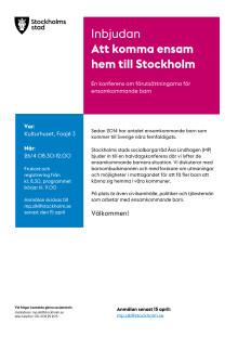 Halvdagskonferens; Att komma ensam hem till Stockholm