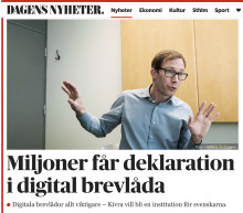 """Dagens Nyheter: """"Miljoner får deklarationen i digital brevlåda"""""""