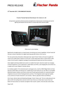 Fischer Panda Named Distributor for CZone in UK