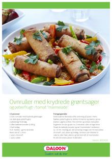 """Opskrift: Ovnruller med grøntsager og peberfrugt/tomat """"marmelade"""""""