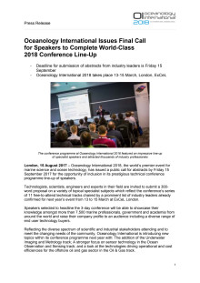 Oceanology International Issues Final Call for Speakers to Complete World-Class 2018 Conference Line-Up