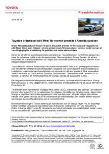 Toyotas bränslecellsbil Mirai får svensk premiär i Almedalsveckan