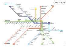 Framtidens spårtrafikkarta - tunnelbanesträckningar