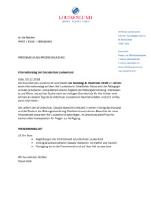 Pressemitteilung Informationstag der Grundschule Louisenlund Dezember 2018