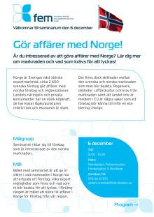 Inbjudan till seminariet Gör affärer med Norge