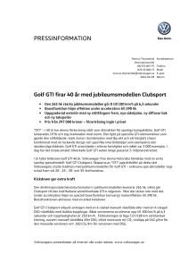 Golf GTI firar 40 år med jubileumsmodellen Clubsport