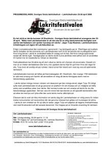 Sveriges första Lakritsfestival - Lakritsfestivalen 25-26 april 2009