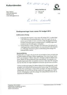 Extra ärende - Omdisponeringar inom ramen för budget 2012