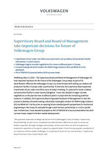 Supervisory Board and Board of Management take important decisions for future of Volkswagen Group