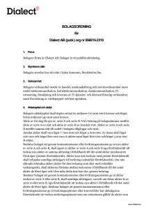 Bolagsordning Dialect AB (med hembud) - Inför stämma hösten 2016