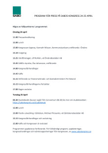 Pressprogram på SABOs kongress i Örebro 24-25 april 2019
