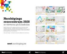Elever från Erlaskolan Östra  visar hur de vill att Norrköpings nya resecentrum ska se ut
