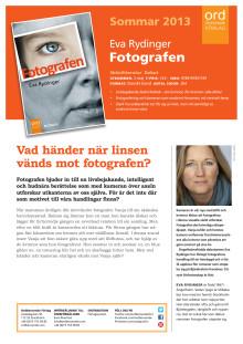Presentationsblad för romanen Fotografen