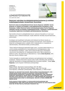 Ramirent vahvistaa kurottajakalustotarjontaansa ja aloittaa kuljettajapalvelujen tarjoamisen Suomessa